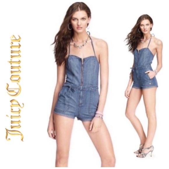 ostaa myyntiin ostaa jaloissa Juicy Couture denim romper jumpsuit summer casual